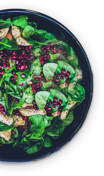 Chicken spinach salad with pomegranate seeds